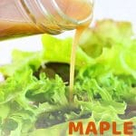 dressing being poured onto a salad with a text overlay that says now cook this maple balsamic vinaigrette