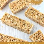 granola bars with a text overlay that says now cook this, super easy, oat and honey chewy no-bake granola bars