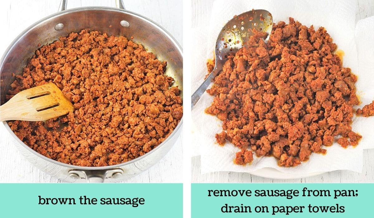 two images showing the steps to make pumpkin and sausage pasta bake