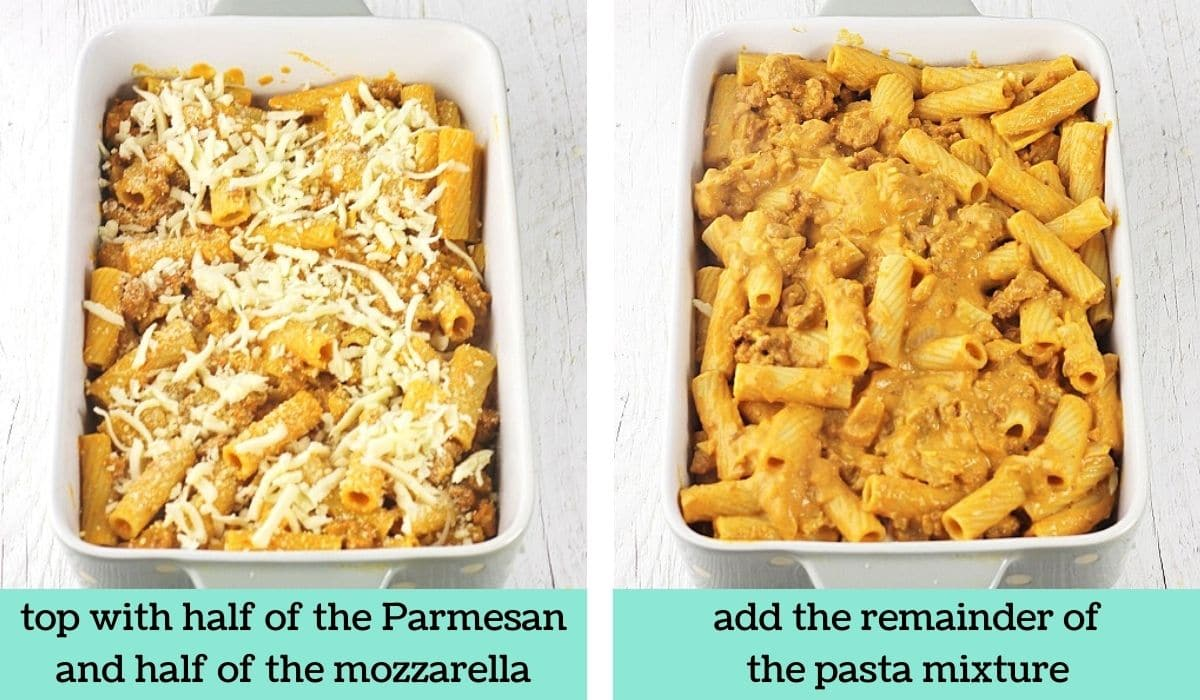 two images showing how to make pumpkin and sausage pasta bake