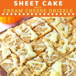 sheet cake with a text overlay that says now cook this pumpkin streusel sheet cake with cream cheese drizzle
