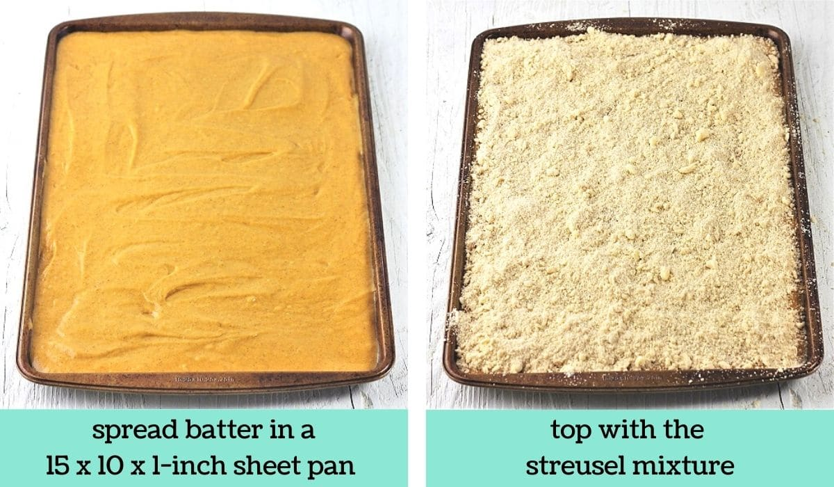 two images showing the steps to make pumpkin streusel sheet cake with cream cheese drizzle