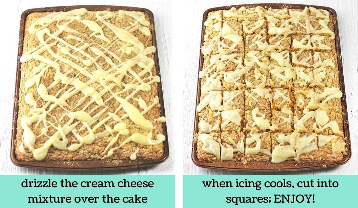 two images showing how to make pumpkin streusel sheet cake with cream cheese drizzle