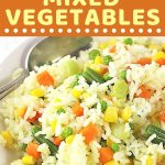 bowl of rice and vegetables with a text overlay that says now cook this rice with mixed vegetables