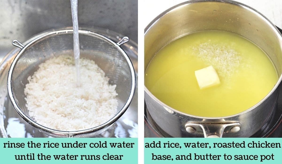 two images showing the steps to make rice with mixed vegetables