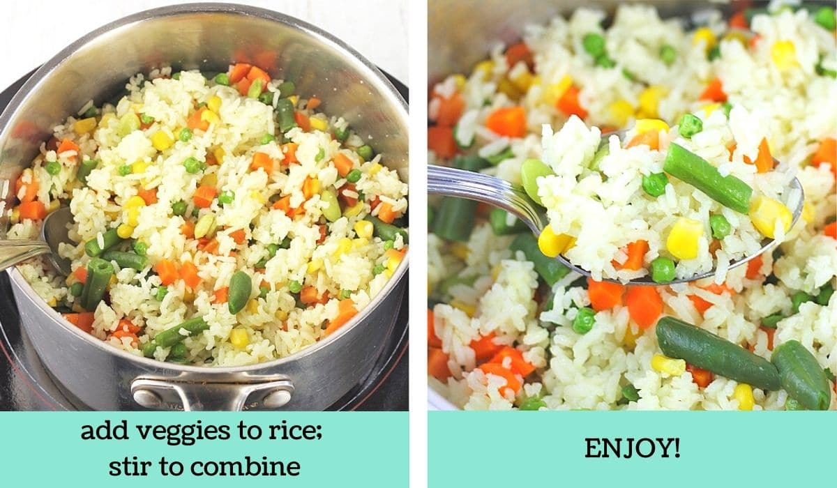 two images showing how to make rice with mixed vegetables