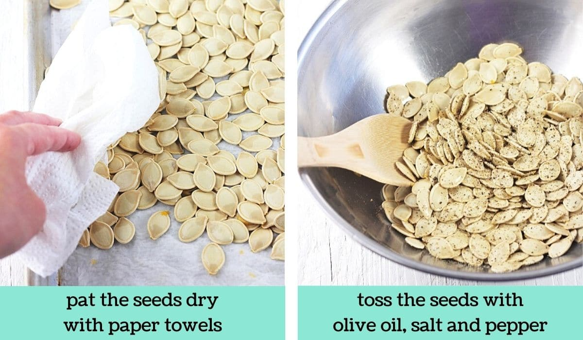 two images showing the steps to make roasted pumpkin seeds with salt and pepper