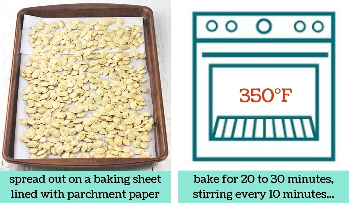 two images showing how to make roasted pumpkin seeds with salt and pepper