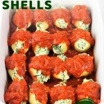 baking dish filled with stuffed shells with a text overlay that says now cook this spinach and cheese stuffed shells, easy meatless meal