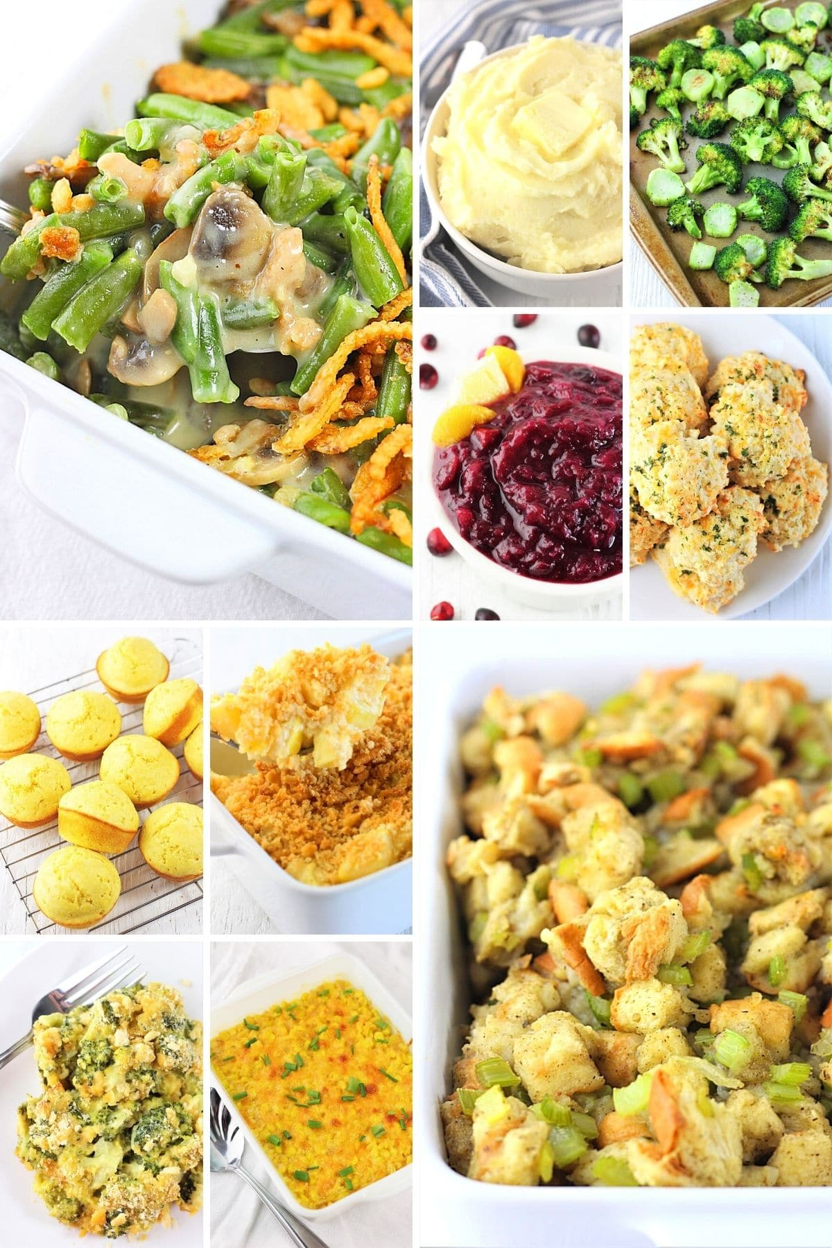 collage of 10 holiday side dish recipes