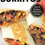 burritos cut in half on a plate with a text overlay that says now cook this black bean and rice burritos, quick and easy meatless meal