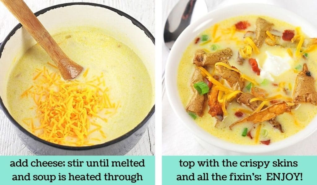 two images showing how to make cheesy potato soup