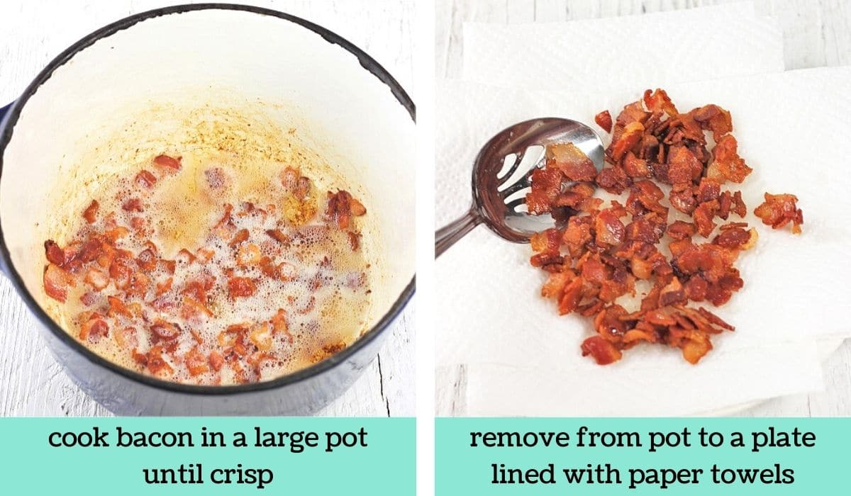 two images showing the steps to make cheesy potato soup with crispy potato skins