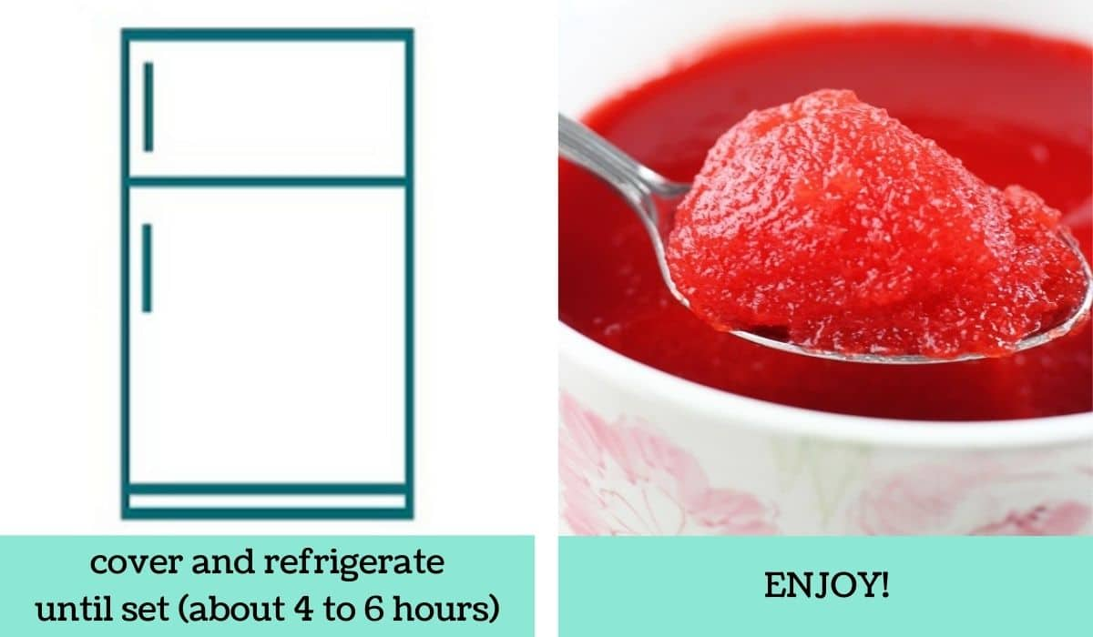 two images showing how to make cherry applesauce jello salad