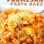 casserole in a baking dish with a text overlay that says now cook this, chicken parmesan pasta bake, easy weeknight dinner