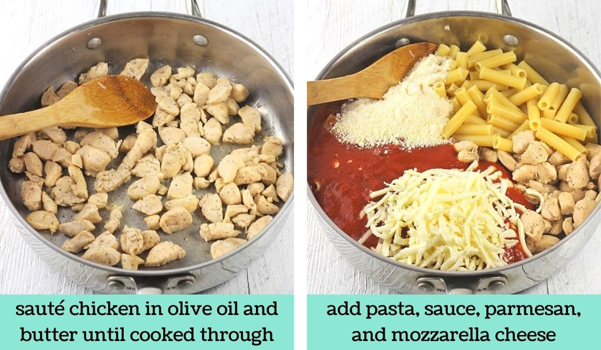two images showing the steps to make chicken parmesan pasta bake