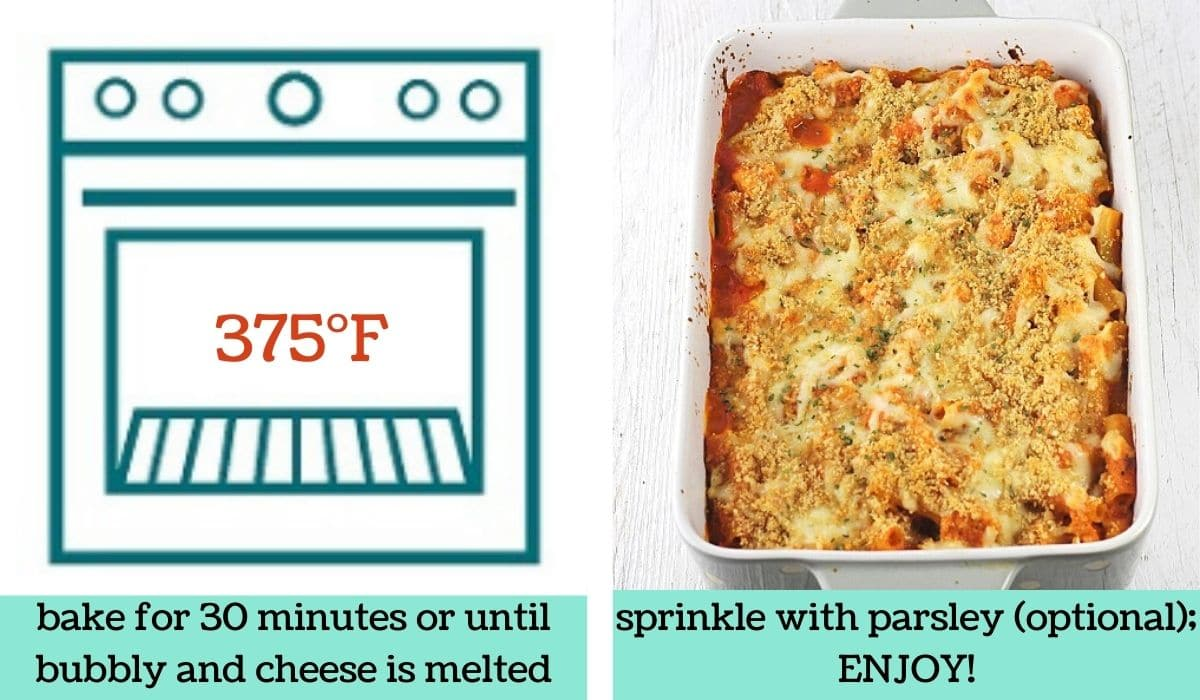 two images showing how to make chicken parmesan pasta bake
