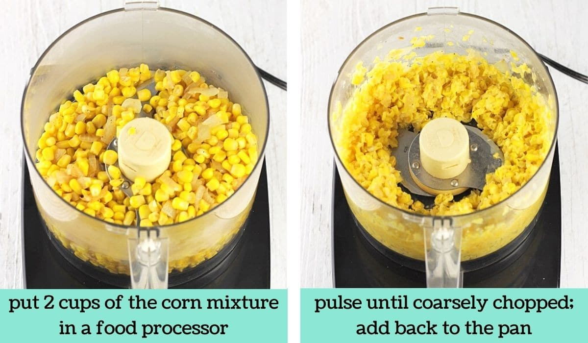 two images showing the steps to make easy cheesy creamed corn