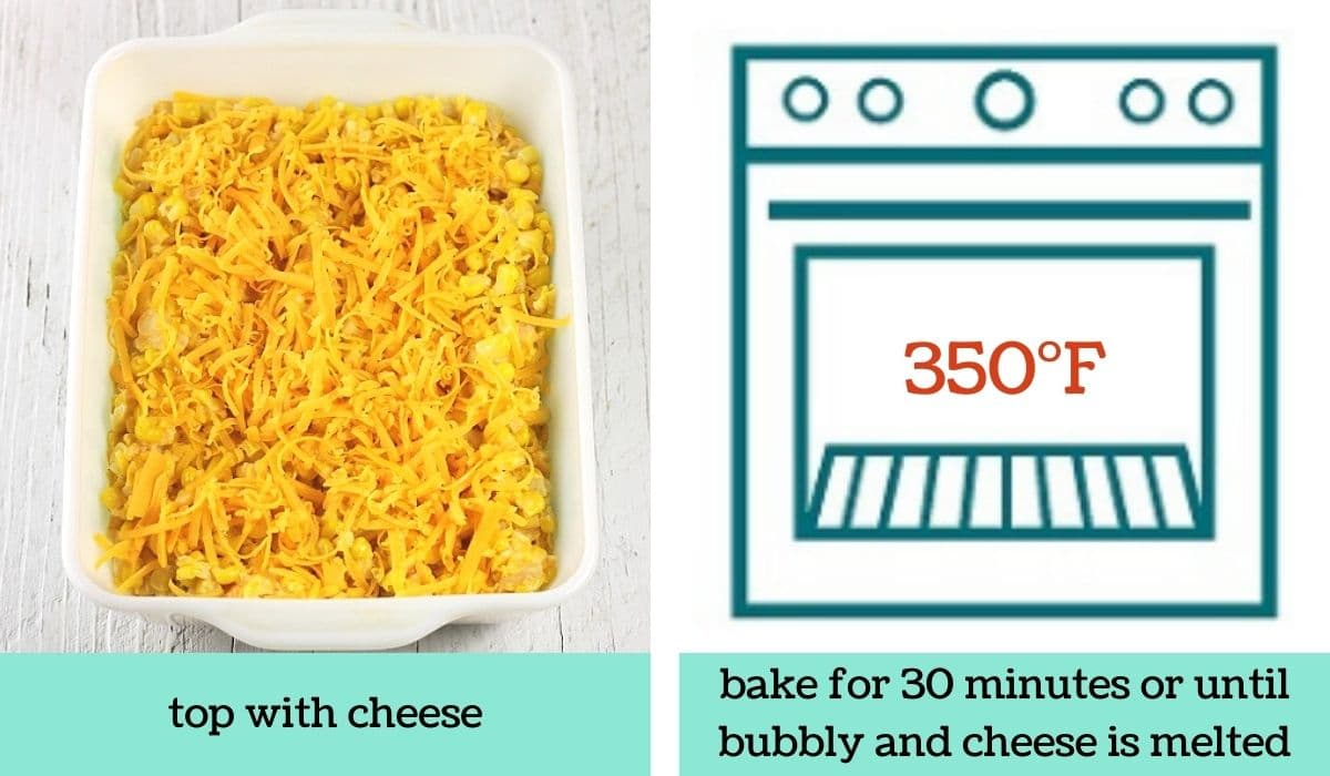 two images showing how to make easy cheesy creamed corn