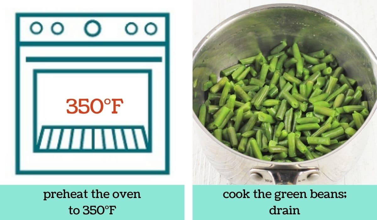 two images showing the steps to make easy green bean casserole
