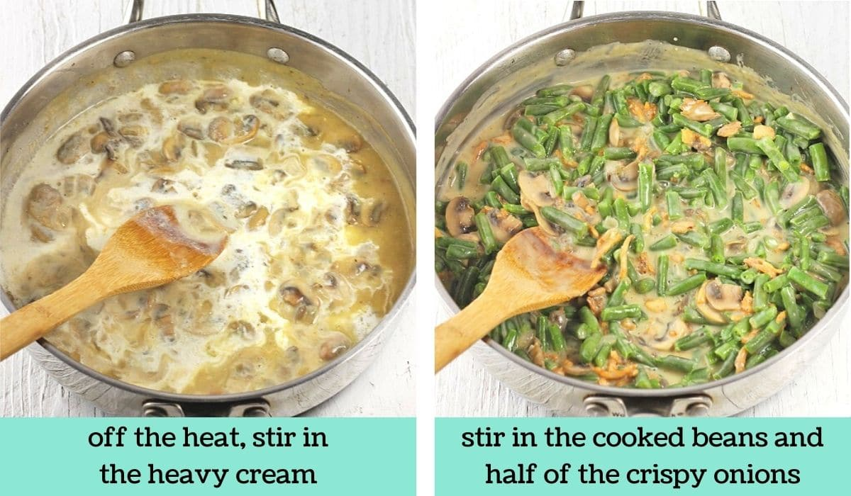 two images showing how to make easy green bean casserole
