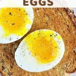soft boiled eggs on a piece of toast with a text overlay that says instant pot soft boiled eggs nowcookthis.com