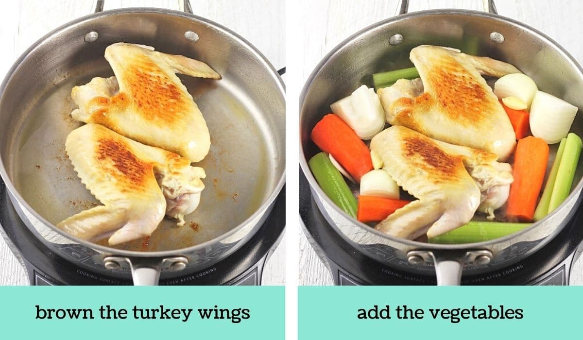 two images showing the steps to make easy make-ahead turkey wing gravy