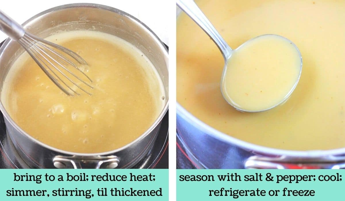 two images showing how to make make-ahead turkey wing gravy
