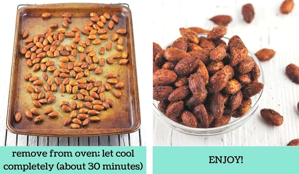 two images showing how to make smoky roasted almonds
