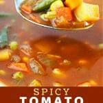 bowl of soup with a spoonful being taken out with a text overlay that says now cook this spicy tomato vegetable soup