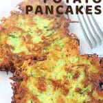 zucchini potato pancakes on a plate with a fork with a text overlay that says now cook this zucchini potato pancakes
