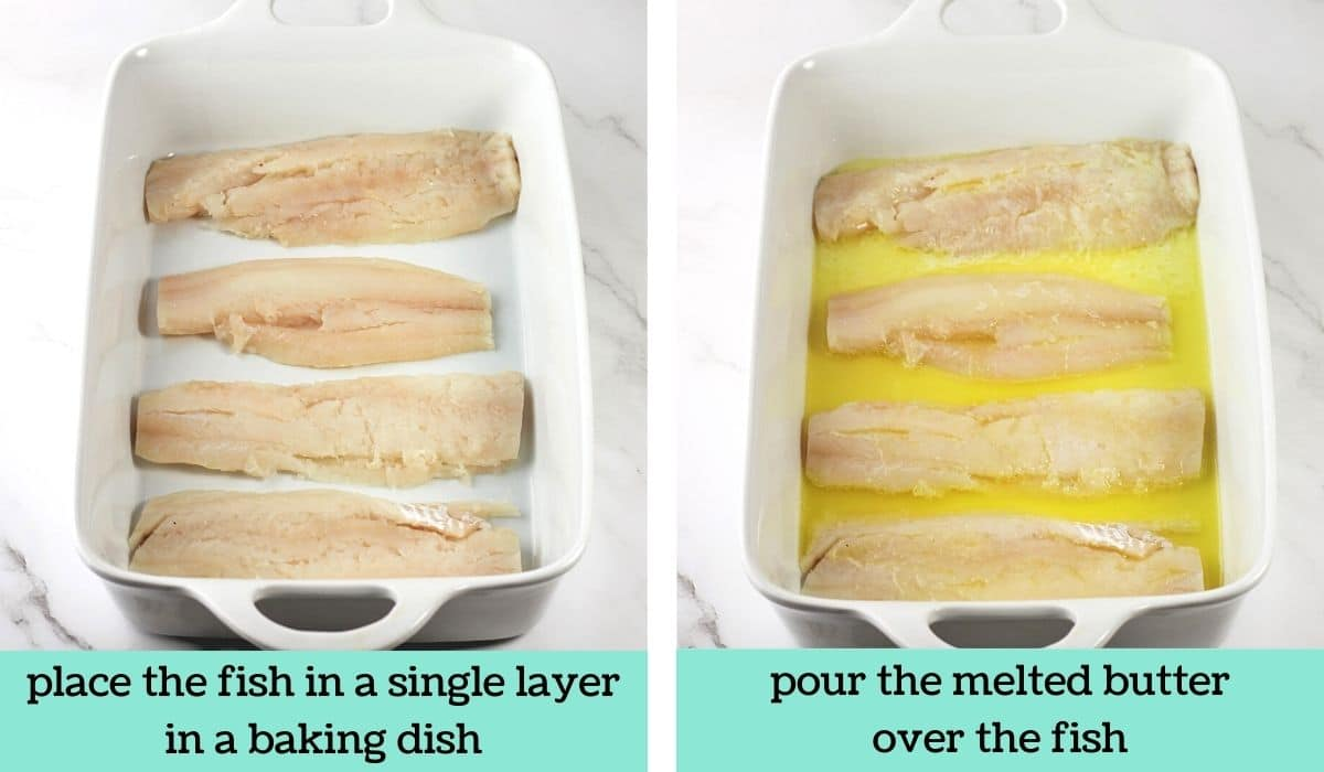 two images showing the steps to make butter-baked haddock