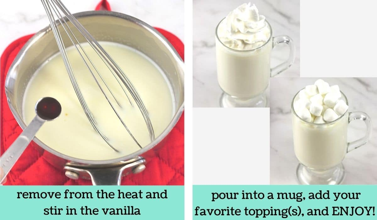 two images showing how to make easy white hot chocolate