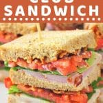 club sandwich on a plate with a text overlay that says now cook this ham and turkey club sandwich