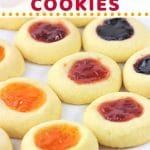 cookies on a plate with a text overlay that says jam-filled thumbprint cookies nowcookthis.com
