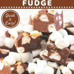 fudge piled on a plate with a text overlay that says now cook this chocolate marshmallow fudge, quick and easy