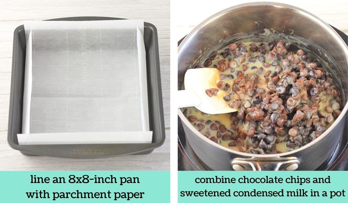 two images showing the steps to make quick and easy chocolate marshmallow fudge