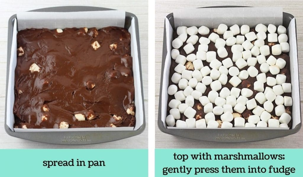 two images showing the steps to make chocolate marshmallow fudge
