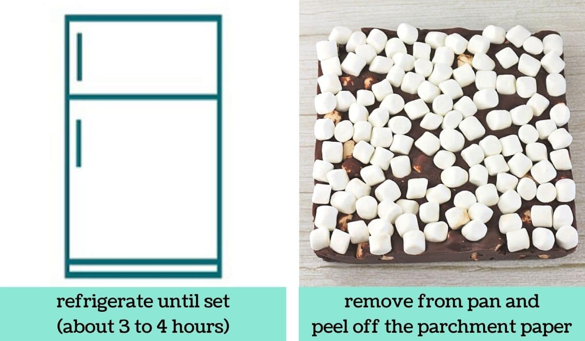 two images showing how to make chocolate marshmallow fudge