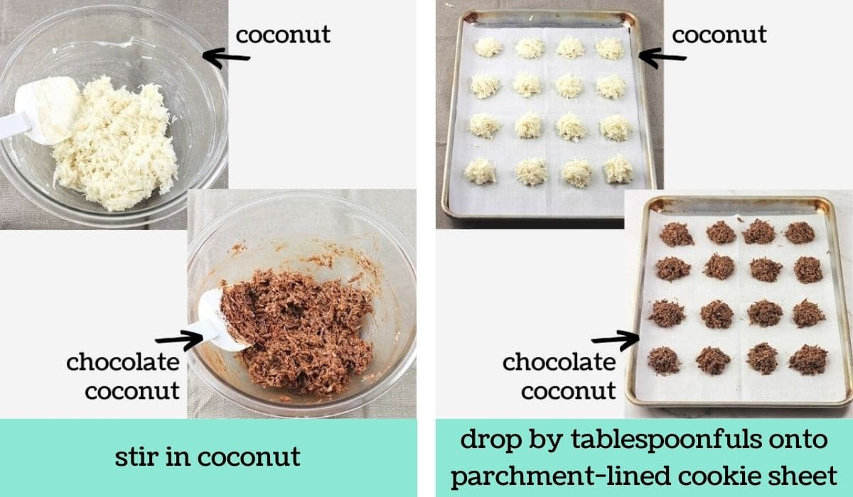 two images showing the steps to make quick and easy coconut macaroons
