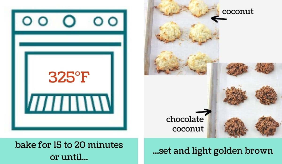 two images showing how to make quick and easy coconut macaroons