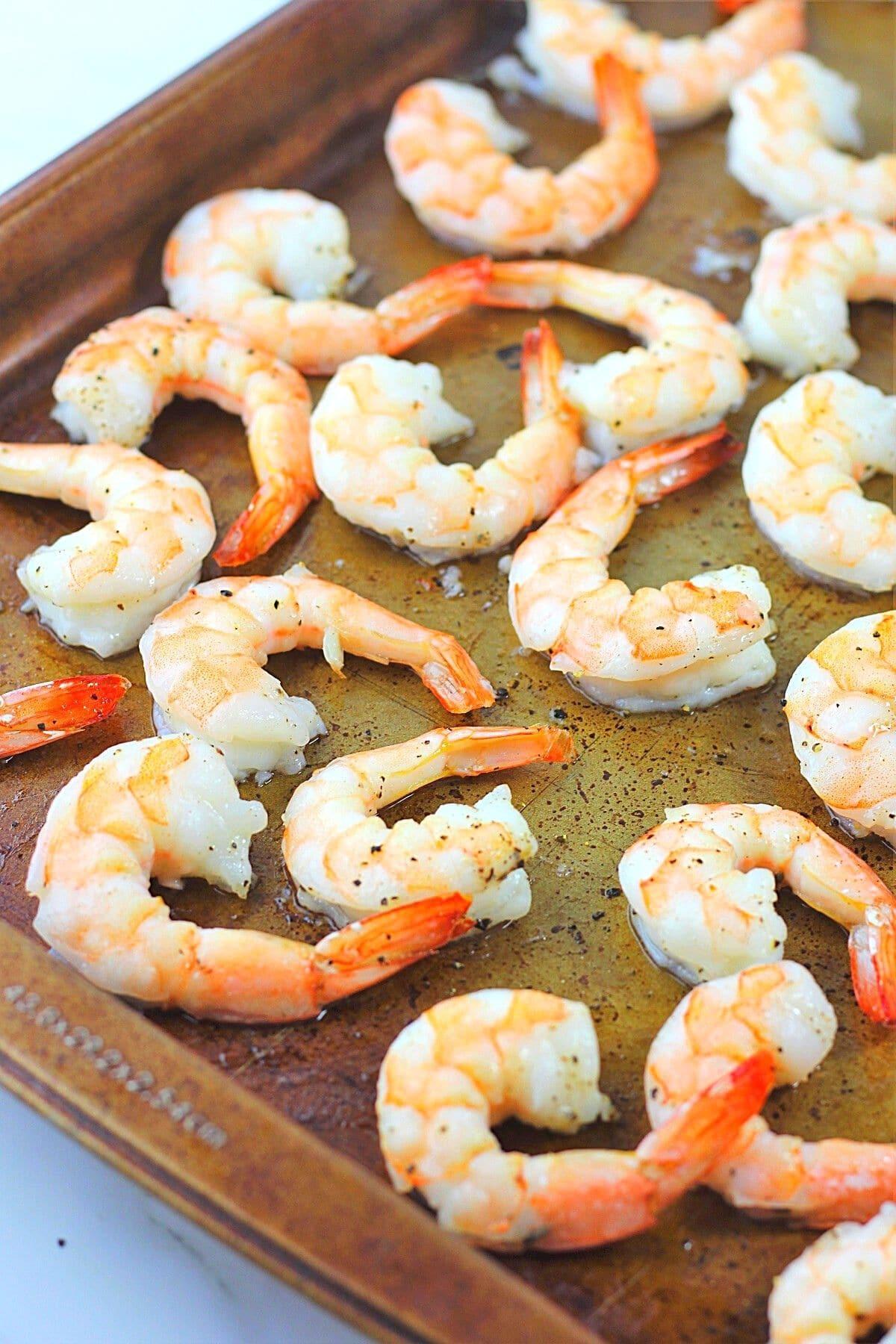 roasted shrimp on a baking sheet