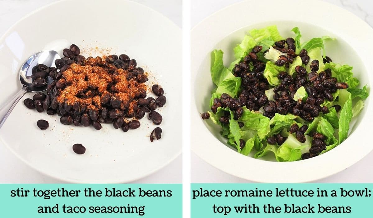 two images showing the steps to make black bean taco salad