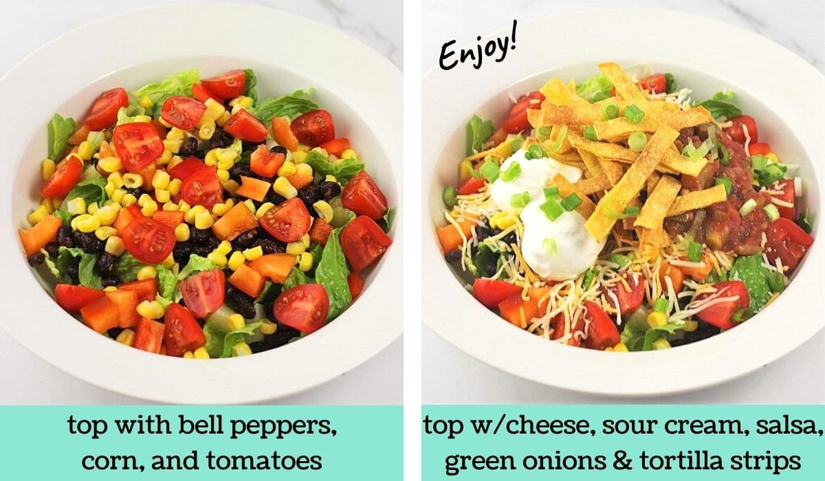 two images showing how to make black bean taco salad
