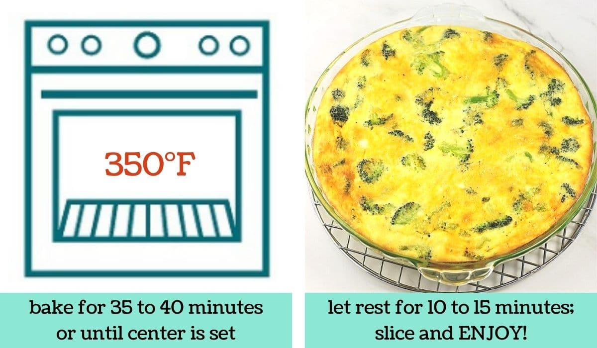 two images showing how to make broccoli and cheese crustless quiche