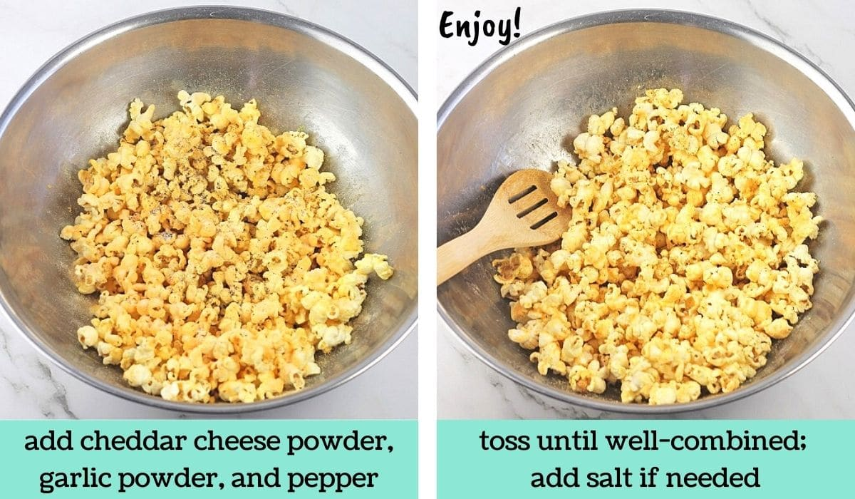two images showing how to make easy cheesy garlic pepper popcorn