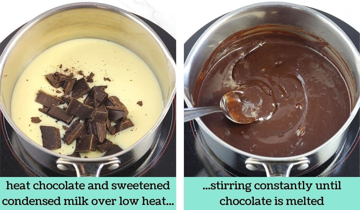 two images showing the steps to make easy chocolate mousse