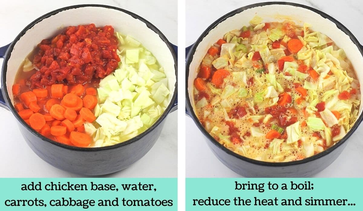 two images showing the steps to make easy low-calorie cabbage soup