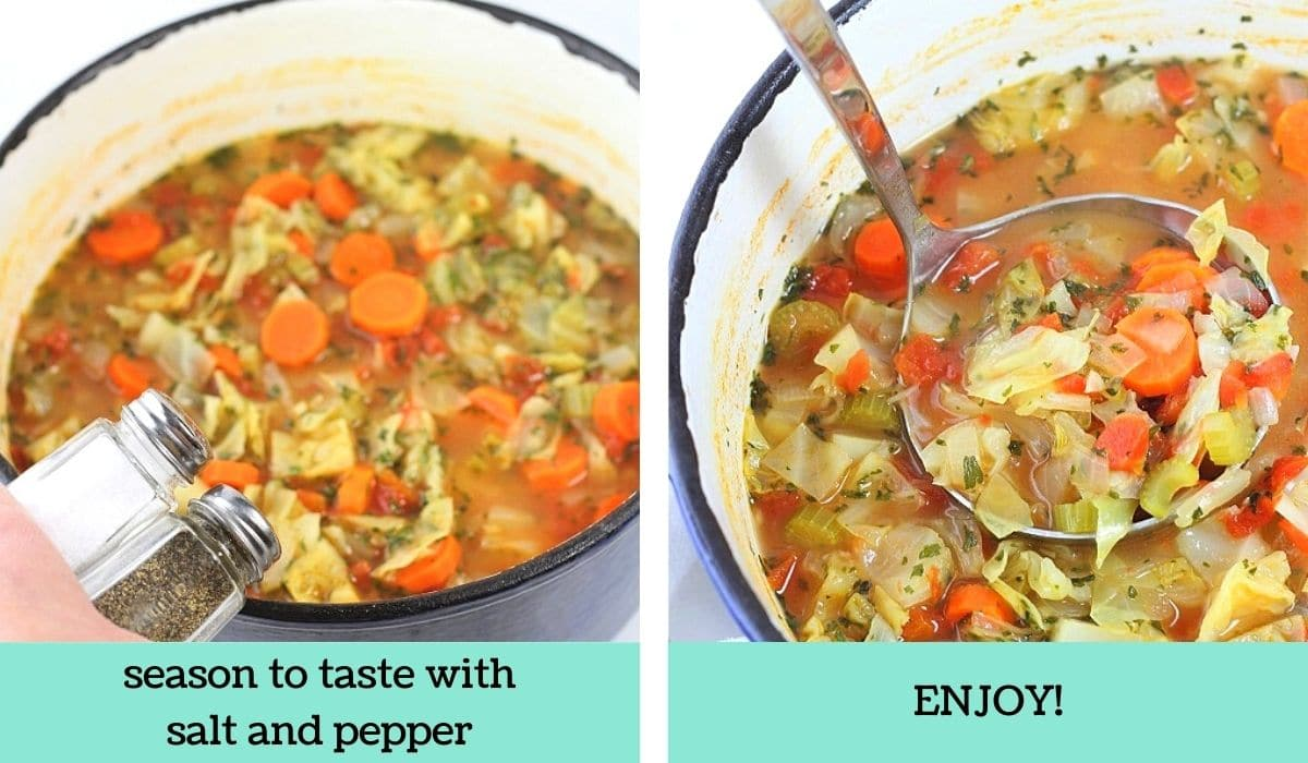 two images showing how to make easy low-calorie cabbage soup