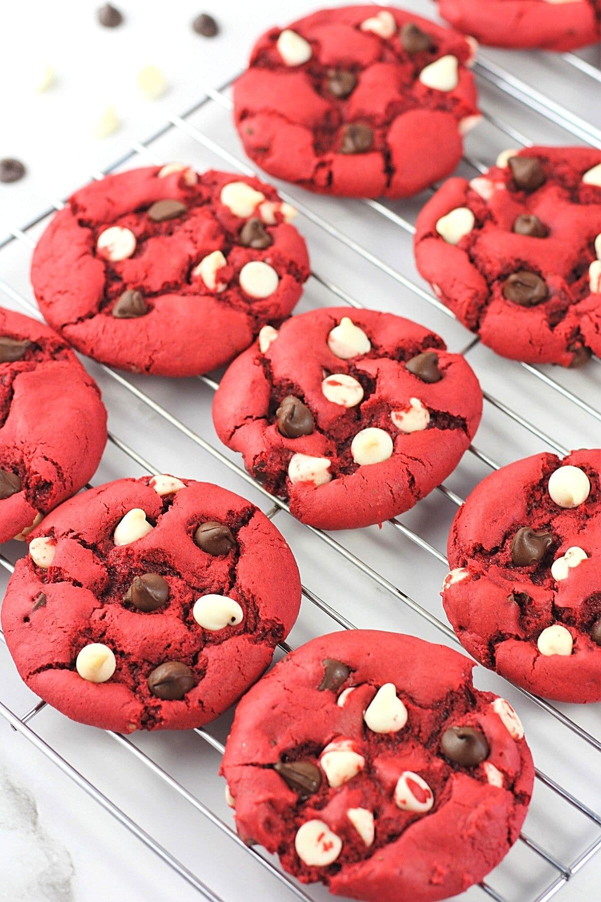 red velvet cake mix cookies on a wire cooling rack